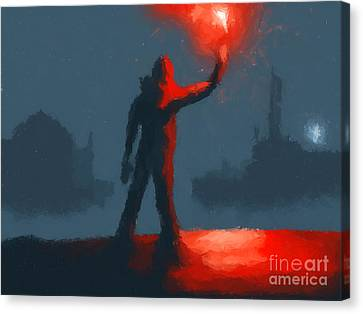 The Man With The Flare Canvas Print by Pixel  Chimp