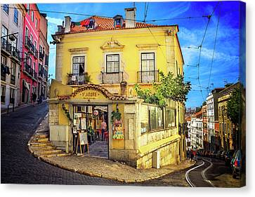 Yellow Building Canvas Print - The Many Colors Of Lisbon Old Town  by Carol Japp