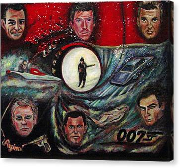 The Many Faces Of Bond...james Bond Canvas Print by Regina Brandt