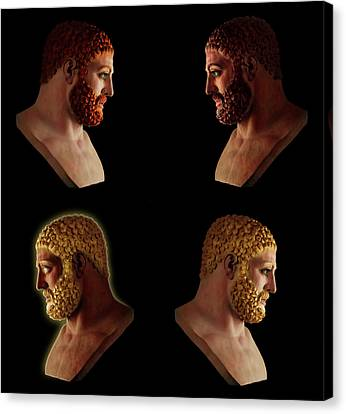 Canvas Print featuring the mixed media The Many Faces Of Hercules 2 by Shawn Dall