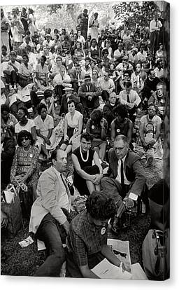 Unrest Canvas Print - The March On Washington   A Crowd Of Seated Marchers by Nat Herz