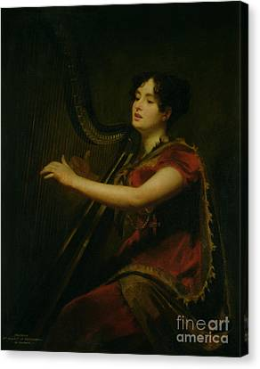 The Marchioness Of Northampton Playing A Harp Canvas Print by Sir Henry Raeburn