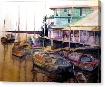 Canvas Print featuring the painting The Marina by Jim Phillips