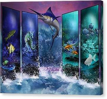 The Marlin And His Sea Friends  Canvas Print by Ali Oppy