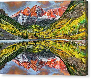 Canvas Print featuring the painting The Maroon Bells  by Aaron Spong
