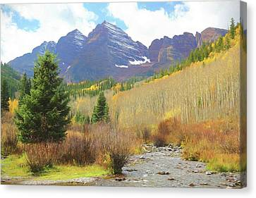 Canvas Print featuring the photograph The Maroon Bells Reimagined 3 by Eric Glaser