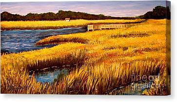 Canvas Print featuring the painting The Marsh At Cherry Grove Myrtle Beach South Carolina by Patricia L Davidson