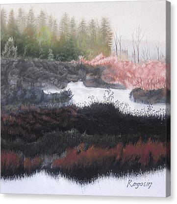 The Marsh Of Changing Color Canvas Print by Harvey Rogosin
