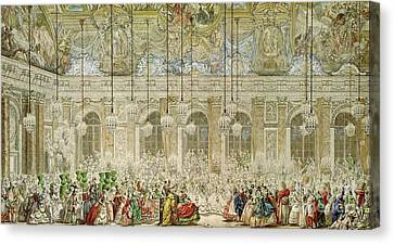 The Masked Ball At The Galerie Des Glaces Canvas Print by Charles Nicolas Cochin II