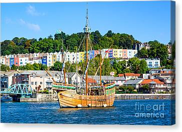 Canvas Print featuring the photograph The Matthew In Bristol Harbour by Colin Rayner