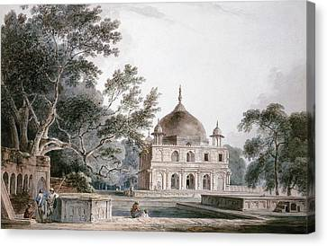 Tomb Canvas Print - The Mausoleum Of Prince Khusrau by Thomas and William Daniell