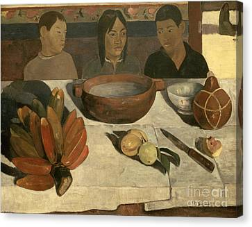 The Meal Canvas Print by Paul Gauguin