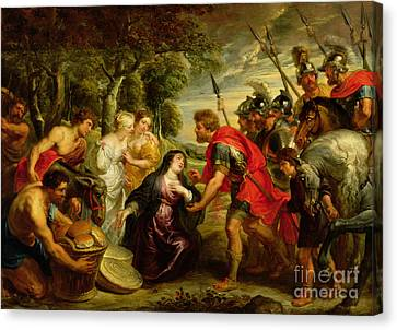 The Meeting Of David And Abigail Canvas Print by Peter Paul Rubens
