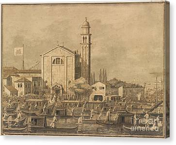 The Meeting Of Pope Pius Vi And The Doge On The Island Of S. Giorgio In Alga Canvas Print
