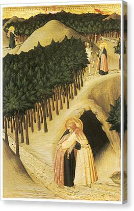 The Meeting Of St. Anthony And St. Paul Canvas Print by Sassetta