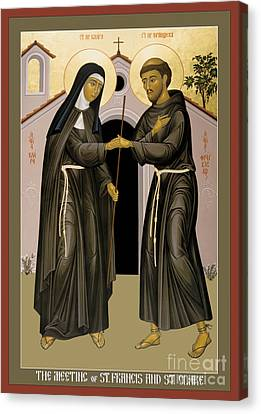 The Meeting Of Sts. Francis And Clare - Rlfac Canvas Print by Br Robert Lentz OFM