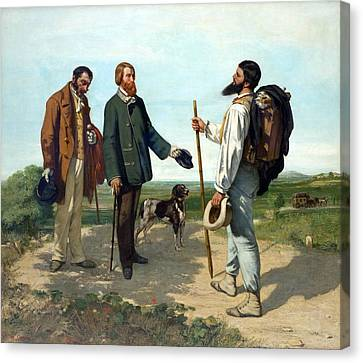 The Meeting Or Bonjour, Monsieur Courbet Canvas Print by Gustave Courbet
