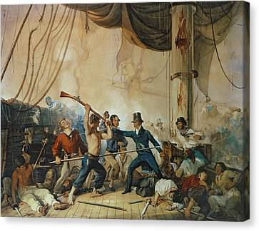 The Melee On Board The Chesapeake Canvas Print by Anonymous