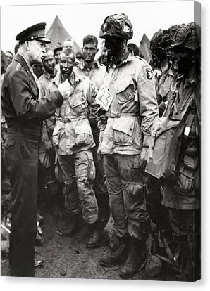 The Men Of Company E Of The 502nd Parachute Infantry Regiment Before D Day Canvas Print by American School