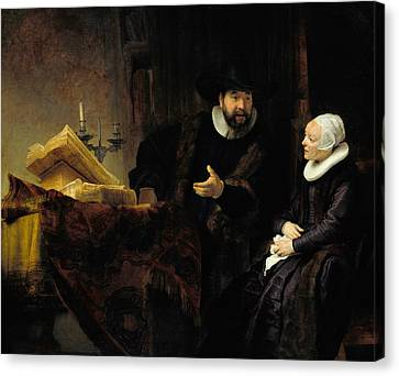 Mennonite Canvas Print - The Mennonite Preacher Anslo And His Wife by Rembrandt