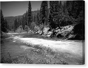 The Merced River At Yosemite Black And White Canvas Print