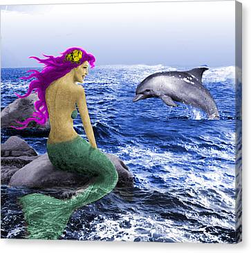 The Mermaid And The Dolphin Canvas Print
