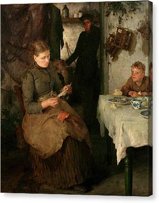 Canvas Print featuring the painting The Message by Henry Scott Tuke
