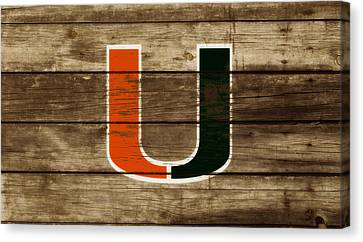 Wooden Bowl Canvas Print - The Miami Hurricanes 3a       by Brian Reaves
