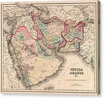 The Middle East In The Mid 19th Century Canvas Print by English School