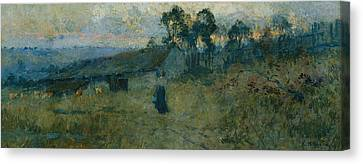 The Milking Shed Canvas Print by Emanuel Phillips Fox