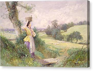 The Milkmaid Canvas Print by Myles Birket Foster