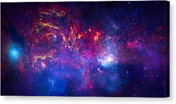 The Milky Way Galaxy Center Composite Canvas Print by Space Art Pictures