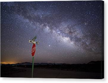 The Milky Way Is Undimmed By Outdoor Canvas Print by Jim Richardson