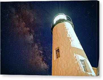 The Milky Way Over Pemaquid Point Canvas Print by Rick Berk