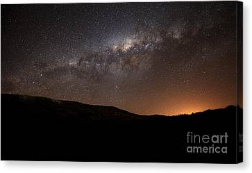 The Milky Way Setting Behind The Hills Canvas Print