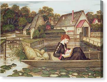 Reading A Book Canvas Print - The Mill by John Roddam Spencer Stanhope