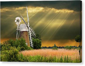 The Mill On The Marsh Canvas Print by Meirion Matthias