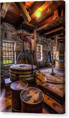 Wayside Inn Grist Mill Canvas Print - The Milling Room by Mark Papke