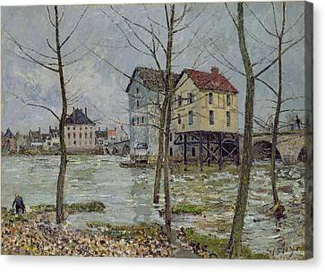 The Mills At Moret Sur Loing Canvas Print by Alfred Sisley
