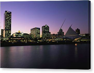 The Milwaukee Skyline At Twilight Canvas Print by Medford Taylor