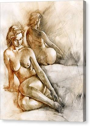Woman Nude Canvas Print - The Mirror by Chris Lopez