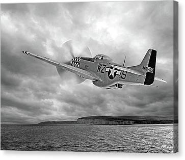 The Mission - P51 Over Dover In Black And White Canvas Print by Gill Billington