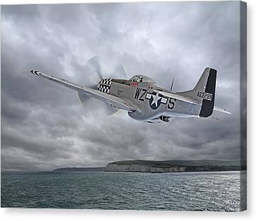 The Mission - P51 Over Dover Canvas Print by Gill Billington
