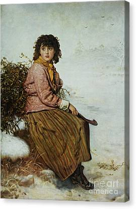 The Kiss Canvas Print - The Mistletoe Gatherer by Sir John Everett Millais