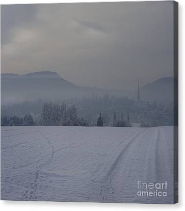 The Misty Wintery Afternoon Canvas Print by Angel  Tarantella