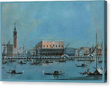 San Marco Canvas Print - The Molo From The Bacino Di San Marco With Palazzo Ducale by Giacomo Guardi