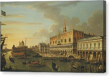 The Followers Canvas Print - The Molo Looking West With The Ducal Palace And The Prison by Follower of Canaletto