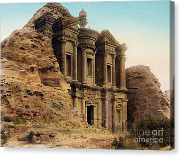 The Monastery Petra Canvas Print by Celestial Images