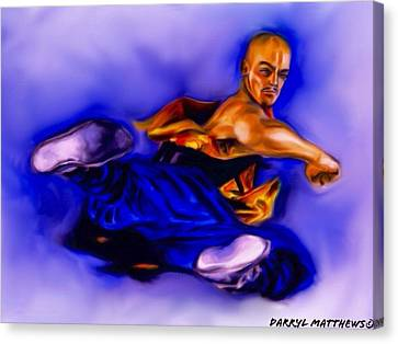 The Monk  Kick. Canvas Print by Darryl Matthews