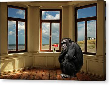 Painter Canvas Print - The Monkey And The Bird by Heike Hultsch
